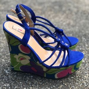 WEDGE ROGAL PURPLE COLORFUL SANDALS SIZE 9